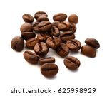 coffee beans isolated on white... | Shutterstock . vector #625998929