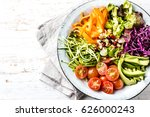vegan buddha bowl. bowl with... | Shutterstock . vector #626000243