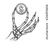 skeleton hand with coin hand... | Shutterstock .eps vector #626003606