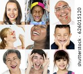 collage of people smiling... | Shutterstock . vector #626015120