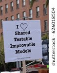 "Small photo of ""I (heart symbol) shared testable improvable models"" sign at the March for Science, Market Street, San Francisco. 4/22/17"