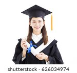 Small photo of graduate student holding a diploma isolated on white