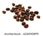 coffee beans isolated on white... | Shutterstock . vector #626040899