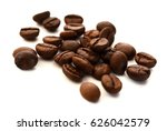 brown coffee beans on white...   Shutterstock . vector #626042579
