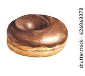 watercolor chocolate donut ... | Shutterstock . vector #626063378