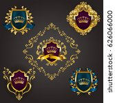 set of golden royal shields... | Shutterstock .eps vector #626066000