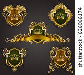 set of golden royal shields... | Shutterstock .eps vector #626066174