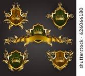 set of golden royal shields... | Shutterstock .eps vector #626066180
