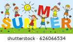 happy kids and text summer.... | Shutterstock .eps vector #626066534