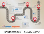 design template  road map... | Shutterstock .eps vector #626072390
