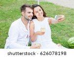 happy couple drink wine. summer ...   Shutterstock . vector #626078198