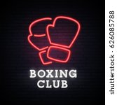 boxing club. neon bright sign.... | Shutterstock .eps vector #626085788