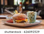hamburger with frech fries and... | Shutterstock . vector #626092529