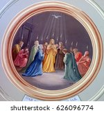 Small photo of KRASIC, CROATIA - JUNE 11: Pentecost fresco in parish church of the Holy Trinity in Krasic, Croatia on June 11, 2016
