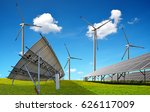 solar panels with wind turbines.... | Shutterstock . vector #626117009