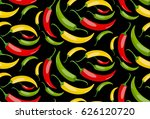 seamless pattern. chile pepper. ... | Shutterstock .eps vector #626120720