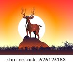 deer on rock and moon and grass ... | Shutterstock .eps vector #626126183