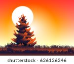 moon and pine at evening | Shutterstock .eps vector #626126246