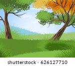 beautiful forest and season... | Shutterstock .eps vector #626127710