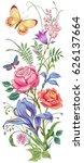 vector bouquet of roses  ... | Shutterstock .eps vector #626137664