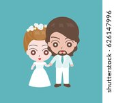 groom holding hand with bride ... | Shutterstock .eps vector #626147996