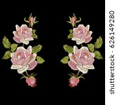 roses embroidery with leaves... | Shutterstock .eps vector #626149280