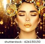 gold woman holiday makeup.... | Shutterstock . vector #626150150