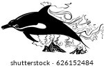 dolphin swim in black an white | Shutterstock .eps vector #626152484