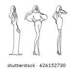 three fashion women. hand drawn....   Shutterstock .eps vector #626152730