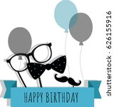 happy birthday greeting card.... | Shutterstock .eps vector #626155916