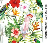 tropic exotic multicolor birds... | Shutterstock .eps vector #626158148