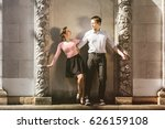 a man and a woman   swing... | Shutterstock . vector #626159108