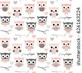 cute vector seamless pattern... | Shutterstock .eps vector #626163224