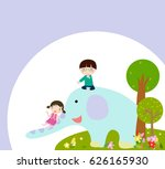 happy kids and elephant | Shutterstock .eps vector #626165930