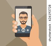 hipster bearded young man takes ... | Shutterstock .eps vector #626193728