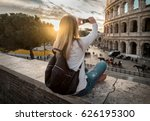 woman tourist selfie with phone ... | Shutterstock . vector #626195300