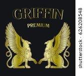 two golden griffins on black...