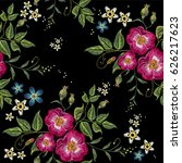 wild roses embroidery seamless... | Shutterstock .eps vector #626217623