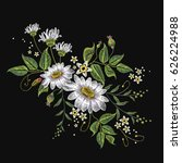 chamomiles embroidery vector.... | Shutterstock .eps vector #626224988