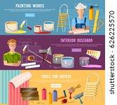 house repair. painter man work...   Shutterstock .eps vector #626225570
