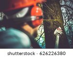 Taking Care of Trees by Removing Damaged and Dead Tree Branches Using Electric Wood Cutter on Extended Pole. Professional Gardener Job. - stock photo