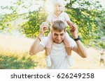 young father and daughter on... | Shutterstock . vector #626249258