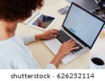 closeup of blogger writing... | Shutterstock . vector #626252114