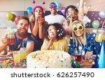 streamers surrounding group of... | Shutterstock . vector #626257490