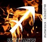 sagittarius zodiac sign on fire ... | Shutterstock . vector #626263748