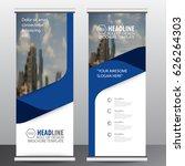 blue roll up business brochure... | Shutterstock .eps vector #626264303