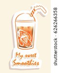 smoothie sticker. a glass of... | Shutterstock .eps vector #626266358