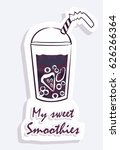 smoothie sticker. a glass of... | Shutterstock .eps vector #626266364