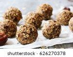 dates oatmeal balls   no cook... | Shutterstock . vector #626270378