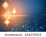 grid with glow light networking | Shutterstock . vector #626270423